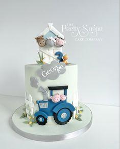 Tractor Birthday Cakes, Boys 1st Birthday Cake, Tractor Cakes, Housewarming Cake, Fondant Cake Designs, Farm Cake, Sugar Cake, Cake Decorating Techniques, Cakes For Boys