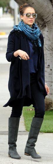 Who made Jessica Alba's blue scarf, gray boots, sunglasses that she wore in Santa Monica on March 6, 2012? Sunglasses – Super Apollo Wayfarer  Shoes – ROBERTO DEL CARLO  Scarf – Tolani