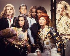 The Muses!!!! From L-R.... Cindy Crawford, Yasmeen Ghauri, Nadege Dubospertus, Naomi Campbell, Helena Christensen, Linda Evangelista, and Karen Mulder! Supermodels... One and All!