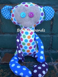 Handmade Monkey Softie Plush childs Toy Doll by Bentleysbands, $18.00