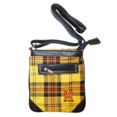 Ticket Bag - University of Maryland $34.99 Tartan and leather adjustable strap purse. Wear it cross body and on gameday or any day. Fits a phone and wallet and other small items. This Product Makes a Great Holiday Gift for any Maryland Terrapins fan!