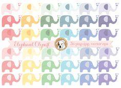Elephant clipart vector baby shower clipart digital elephants polka dot striped colorful baby girl baby boy commercial use nursery art eps