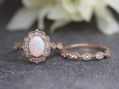 Oval Moissanite Engagement Ring Set, Wedding Ring Set,Diamond Wedding Band,Art Deco Ring,Vintage Rose Gold Ring Etsy :: Your place to buy and sell all things handmade Morganite Engagement, Rose Gold Engagement Ring, Engagement Ring Settings, Vintage Engagement Rings Opal, Solitaire Engagement, Morganite Ring, Diamond Wedding Rings, Bridal Rings, Bridal Jewelry