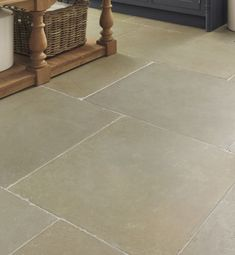 Classic Umbria Limestone in a tumbled finish. Large limestone flagstones with a subtle colour palette of grey, green and ochre. Blue Laundry Rooms, Rustic Laundry Rooms, Limestone Flooring, Grey Flooring, Bathroom Flooring, Kitchen Flooring, Kitchen Tiles, Kitchen Paint, Kitchen Stuff