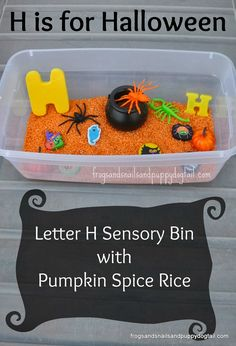 halloween sensory bin and learning letter H - teach mama