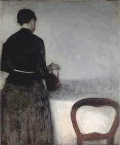 Vilhelm Hammershøi (Danish, 1864-1916) Young Girl Pouring Tea (the Artist's Sister) (En unge pige, som hoelder af en kande), 1884. oil on canvas.