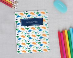 Preppy Dinosaur Personalized Spiral Notebook | Two Sizes: Regular or Mini | Meredith Collie Paper