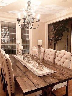 Farmhouse dining rooms decor Large Farmhouse Table Long Farm Table Dining Room Table How to Carry a Farmhouse Dining Room Table, Dining Room Table Decor, Wooden Dining Tables, Dining Room Design, Living Room Decor, Wood Table, Rustic Dining Rooms, Dining Room Decor Elegant, Living Rooms