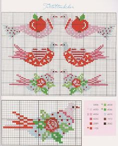 cross stitch chart - bird with apple, rose & heart