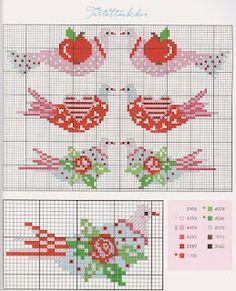 cross stitch chart - bird with apple, rose & heart