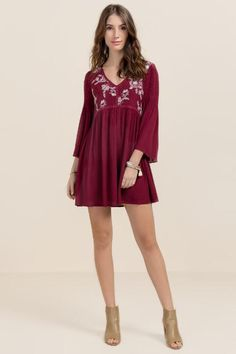 Cambria Embroidered Shift Dress- Wine burg-clmodel