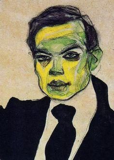Egon Schiele, Portrait of Max Oppenheimer, detail, 1910