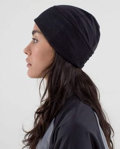 Frosty Run Toque  Reflective ---activewear beanie w a slit for ponytail 2a7c6213b4c