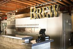 Karl Strauss Unveils New Tasting Room at Main Brewery in Pacific Beach Beer Brewery, Beer Bar, Concrete Bar Top, Starting A Brewery, Brewery Interior, Tap Room, Green Rooms, Beer Garden, Tasting Room