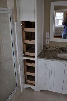 Diy bathroom storage ideas – Organizing your bathroom can be challenging. For example, if it is small you can make the most of the storage area above the floor by installing high bathroom storage units which only take up a… Continue Reading → Cabinet Remodel, Bathroom Makeover, Bathroom Linen Tower, Amazing Bathrooms, Bathrooms Remodel, Bathroom Design, Bathroom Decor, Bathroom Renovation, Bathroom Redo