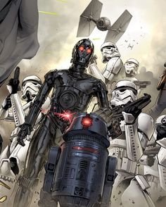 Star Wars - Vader Down #5 by Clay Mann, colours by Laura Martin. Doctor Aphra crew members, droids: 0-0-0 and BT-1, protocol droid and an astromech.