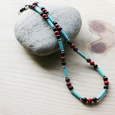 Men's Turquoise Beaded NecklaceTurquoise by JewelryByLadyM on Etsy