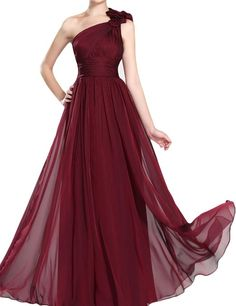 LovingDress Women's Prom Dresses One Shoulder Bridesmaid Dresses Evening Dress Size 0 US Burgundy