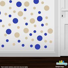 Blue / Beige Polka Dot Circles Wall Decals