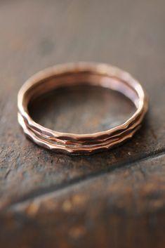 14k rose gold stacking rings eco friendly thin by BelindaSaville