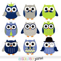Boy Owls Navy Lime Digital Clipart INSTANT by AbsolutelyJanie, $5.00