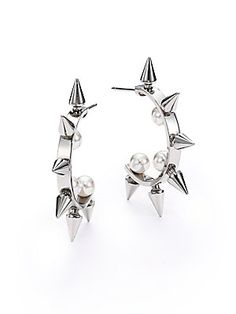 """oowowowowowowowo Majorica 5MM White Round Pearl Spiked Hoop Earrings/1.5"""""""