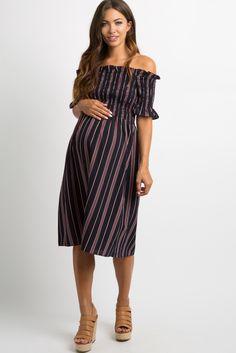 1ba49e648e233 PinkBlush - Where Fashion Meets Motherhood. Black Pinstriped Smocked Maternity  Dress