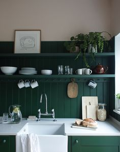 Farrow & Ball gets two in a row? This one is a different shade (called Duck Green) but still deep dark and rich for today's dark green kitchen color inspo series. Not as formal as the first green one from earlier today. How does this one hit you? Farrow Ball, Farrow And Ball Paint, Home Design, Farrow And Ball Kitchen, Stone Feature Wall, Home Interior, Interior Design, Interior Livingroom, Purbeck Stone