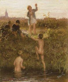 Bernardus Johannes Blommers (Den Haag 1845-1914) The little bathers - Dutch Art Gallery Simonis and Buunk Ede, Netherlands.