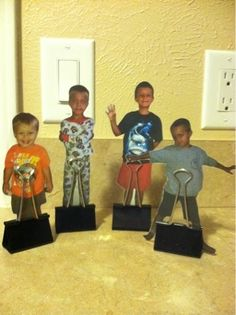 I had my boys pose for these. We haven't made them for school yet. I uploaded them on the computer, printed on cardstock, and laminated. The...