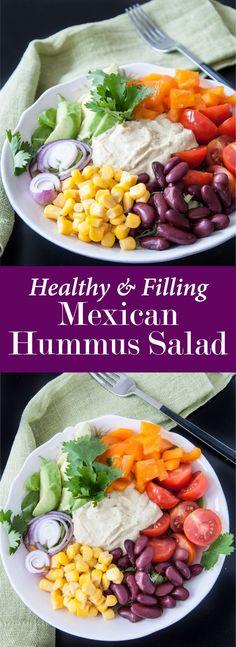 Healthy Mexican Hummus Salad Bowl Recipe | VeganFamilyRecipes