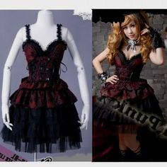 gothic red and black prom dress World dresses