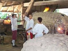 colonial glassblower | Glasshouse artisans producing glass objects much like the early glass ...
