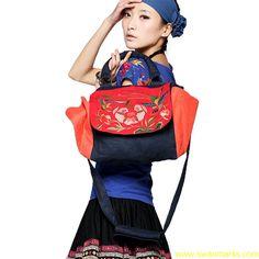 #Swanmarks Liebo New Embroidery Splicing Flax Handbag