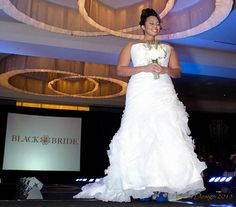 Model is wearing Demetrios Atlanta at the 2013 BlackBride.com Bridal Show