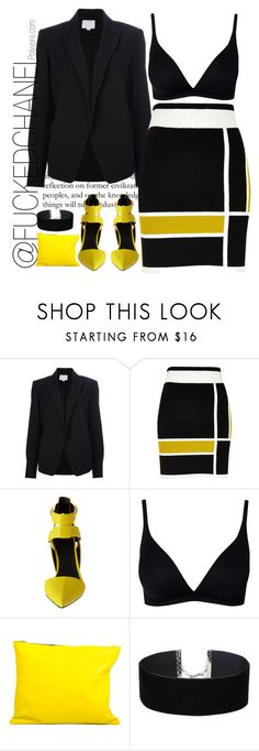 """""""Black and yellow."""" by fuckedchanel ❤ liked on Polyvore featuring Alexander Wang, River Island, CALIDA, Sarah Baily and Miss Selfridge"""