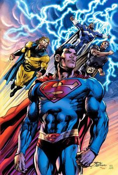 Superman Sentry Hyperion on and blue marvel by Neal Adams