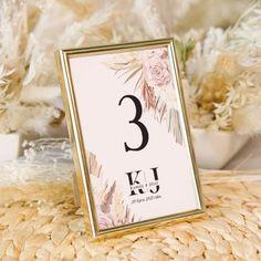Elegancka #tabliczkanastolik w złotej ramce do postawienia na stołach weselnych #wesele #numereknastół #numerystołów Place Cards, Place Card Holders, Rustic, Country Primitive, Farmhouse Style, Country