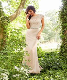 Blush Toned Floor Length Wedding Dress with Cut-Out Neckline and Cap Sleeves - How to Select Weddin...~http://www.everafterguide.com/wedding-dresses-for-the-mature-bride.html