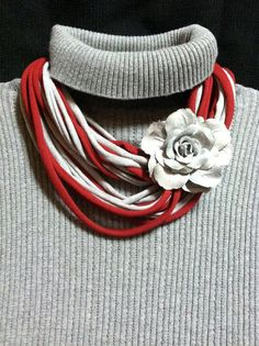 Comfy T-Shirt Scarf or Necklace in Crimson Red and Grey - Great for Alabama Fans