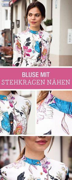 Kostenlose Nähanleitung für eine moderne Bluse mit Stehkragen / diy sewing tutorial and pattern for a blouse with stand-up collar via DaWanda.com