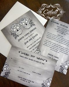 Distressed Sugar Skull with Roses Wedding Invitation by citlali, $2.00