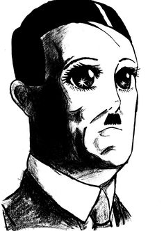 Anime was created because of Hitler. If Hitler never started WWII the Japanese never would have lost the war leading to an economic recession that lead to a rise in anime culture. Therefore Anime = Hitler Troll, Weird Pictures, Portrait Art, Dark Art, Art Quotes, Illustration Art, Illustrations, Sketches, Kawaii