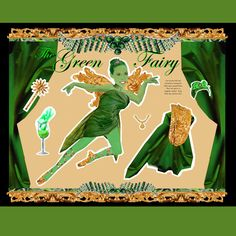 green fairy absinthe paper doll.