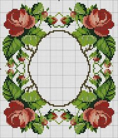 Idea: stitch out the frame in any shape then fill to the outside with a pattern or blackwork Cross Stitch Borders, Cross Stitch Rose, Cross Stitch Flowers, Counted Cross Stitch Patterns, Cross Stitch Charts, Cross Stitch Designs, Cross Stitching, Diy Embroidery, Cross Stitch Embroidery