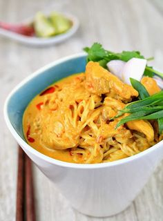 my bare cupboard: Khao soi / Chiang Mai curry noodles- make with rice noodles and shoyu