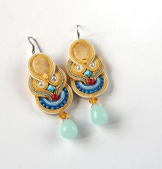 Colourful soutache earrings Long Clip On Earrings Unique