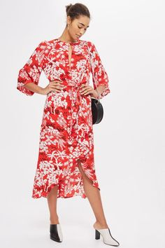 Fern Print Knot Front Dress