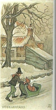 Schaatsend met slee over de Leidsevaart in Vogelenzang Anton Pieck, Dutch Painters, Dutch Artists, Fantasy Illustration, Beautiful Paintings, Gouache, Illustrators, Fairy Tales, Sketches