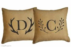 Monogrammed burlap pillow Personalized burlap pillow cover Monogrammed Cabin Decor rustic home decor deer antler monogram deer throw pillow